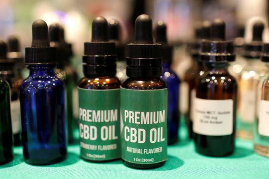 CBD Oil is displayed at The Cannabis World Congress & Business Exposition (CWCBExpo) trade show in New York