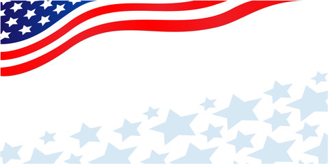 Flowing USA flag banner corner with stars and copy space for your text. Wall mural