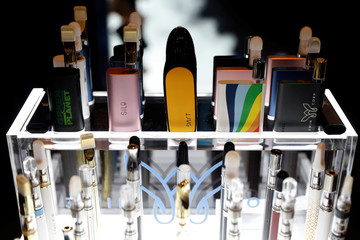 Vaping pen devices are displayed at The Cannabis World Congress & Business Exposition (CWCBExpo) trade show in New York