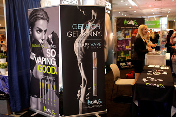 CalyFx vaping display booth is seen at The Cannabis World Congress & Business Exposition (CWCBExpo) trade show in New York