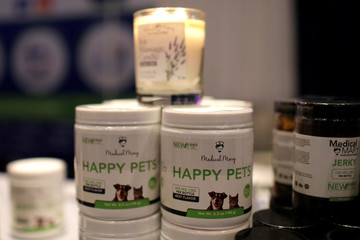 CBD products for pets are seen displayed at The Cannabis World Congress & Business Exposition (CWCBExpo) trade show in New York