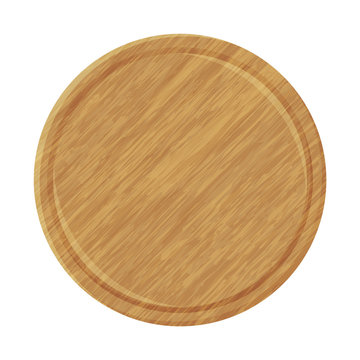 Wood plate for pizza. Object for packaging, advertisements, menu. Isolated on white. Vector illustration. Cartoon.