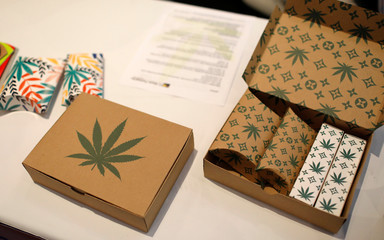 Cannabis product boxes are displayed at The Cannabis World Congress & Business Exposition (CWCBExpo) trade show in New York
