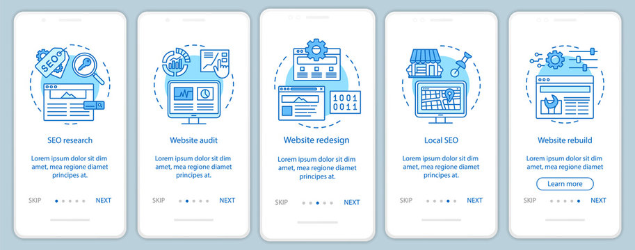 Web consulting onboarding mobile app page screen vector template