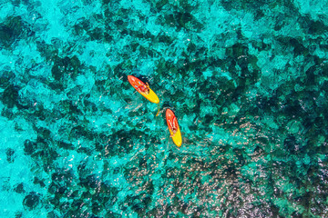 Aerial view Kayak boat turquoise water sea, sunny day. Concept travel together