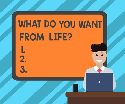 Text sign showing What Do You Want From Lifequestion. Conceptual photo Express the things you would like to get Blank Bordered Board behind Man Sitting Smiling with Laptop Mug on Desk