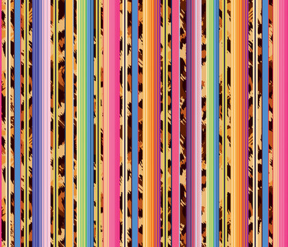 Serape stripes leopard background, colorful seamless mexican style and animal pattern