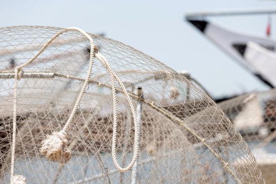 Fishing nets in Dubai, UAE. Fishing harbor.