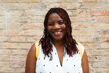 Smiling woman portrait.