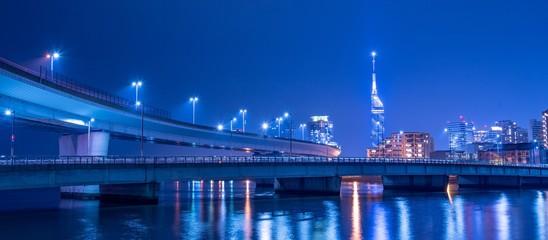 福岡市の夜景とハイウェイ Wall mural