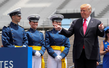 U.S. President Trump attends U.S. Air Force Academy's graduation ceremony in Colorado Springs, Colorado