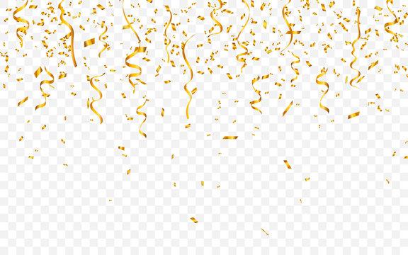 Gold confetti. Celebration carnival ribbons. Luxury greeting card. Vector illustration