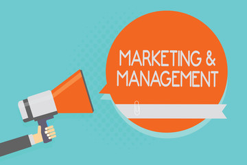 Writing note showing Marketing and Management. Business photo showcasing process of developing strategies for product Attention warning hot social issue announcement declare recall notice