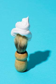 shaving brush with soap foam