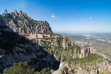 Wide View of Montserrat Monastery - Montserrat, Catalonia, Spain