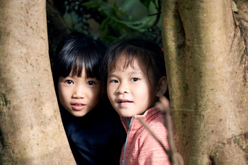 Two Chinese girls looking at camera from behind tree