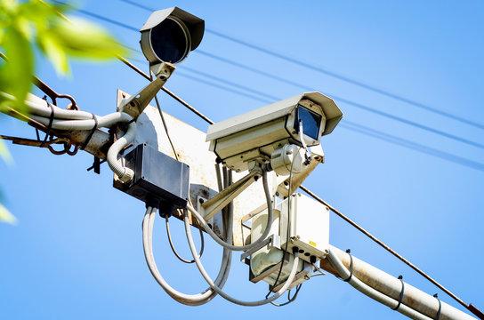Road police outdoor video camera