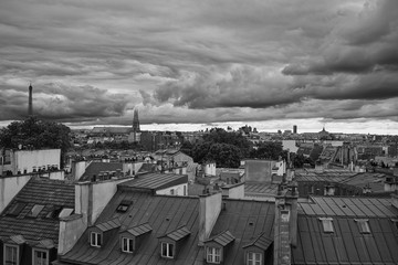 Fototapete - Superb Black & White Aerial View of Paris centre and roofs shots with a Leica