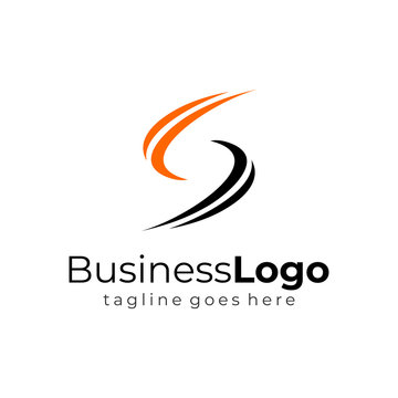 Simple Wave Black Orange Letter S Business Logo Vector Design Template
