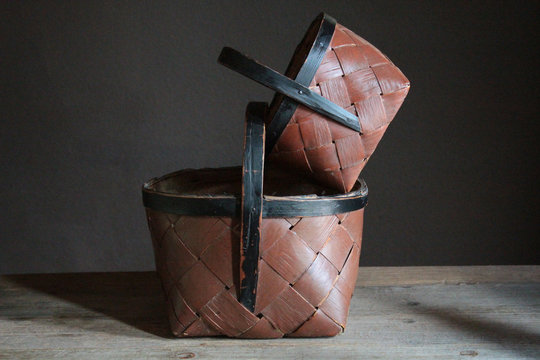 antique swedish folk art painted baskets