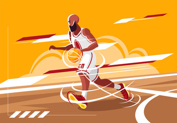 Vector illustration of a bearded basketball player running on the court with a ball