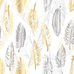 Seamless pattern with of gold and silver feather. Vector illustration. EPS 10