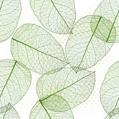 Seamless pattern with colored leaves. Vector, EPS 10.