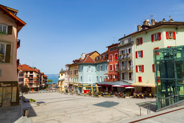 Old town buildings in Evian-les-Bains city in France