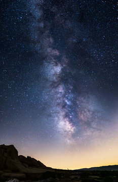 Scenic view of the starry night sky showing the Milky Way Galaxy depicting astronomy science or a religious view of heaven.  The landscape is taken at nighttime.