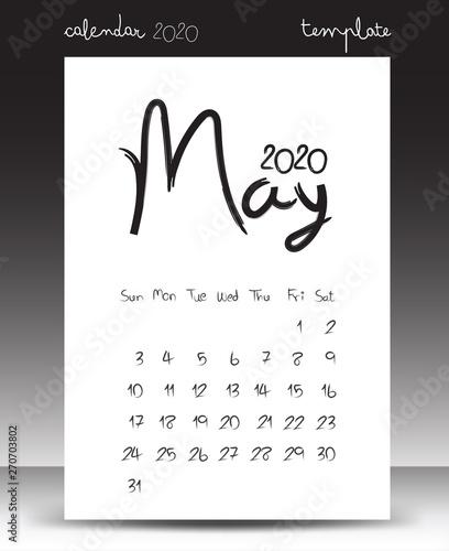 Calendar for 2020, Lettering calendar, May 2020, hand drawn