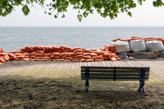 Plastic flood protection sandbags stacked into a temporary wall