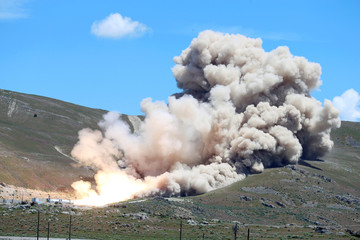 Northrop Grumman conducts a full-scale static fire test of the first stage of OmegA, the company's new intermediate/heavy-class rocket, in Promontory Utah