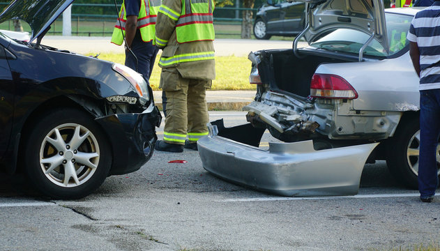 Close up on car crash accident in the street