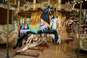 Black and White Horse on Carousel