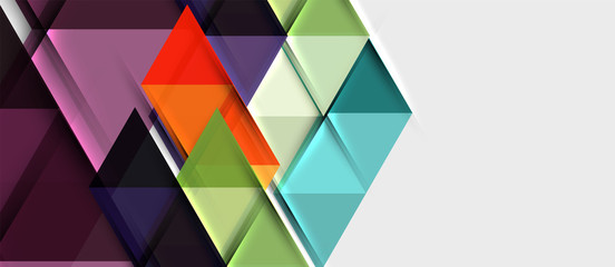 Abstract geometric background. Modern overlapping triangles. Unusual color shapes for your message. Business or tech presentation, app cover template Wall mural