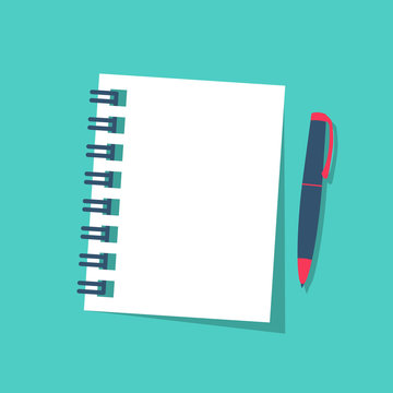 Notebook and pen isolated on background. Vector illustration flat style. Page notepad white paper. Template for text for web design or advertising. Diary for writings.