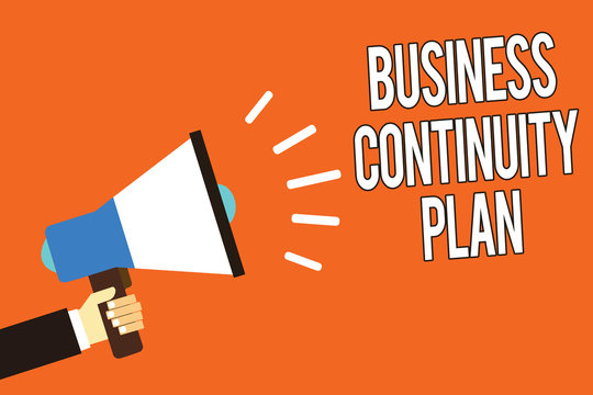 Writing note showing Business Continuity Plan. Business photo showcasing creating systems prevention deal potential threats Man holding megaphone loudspeaker orange background message speaking