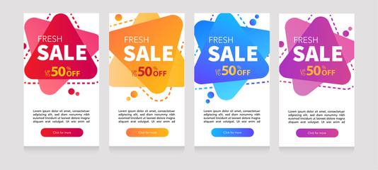 Dynamic modern fluid mobile for best deals banners. Sale banner template design, Get Discount special offer set