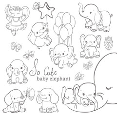 Baby elephant collection over white background