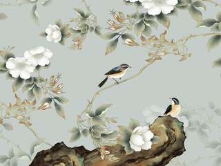 Gray background, rock, thin branches with white flowers, two sitting birds - 270733475