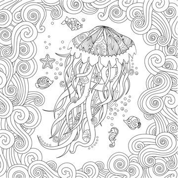 Jellyfish in zentangle inspired style on white background. Coloring book for adult and older children.