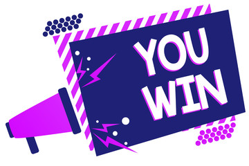 Text sign showing You Win. Conceptual photo be first in school race or competition Got gold medal Rating Megaphone loudspeaker purple striped frame important message speaking loud