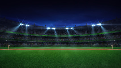 Night cricket field general side view and stadium lights on