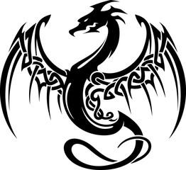 Celtic Mythical Dragon Sigil, Isolated Vector