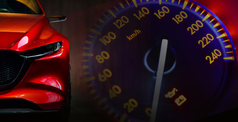 Wall Mural - Red modern car headlights on car instrument panel background