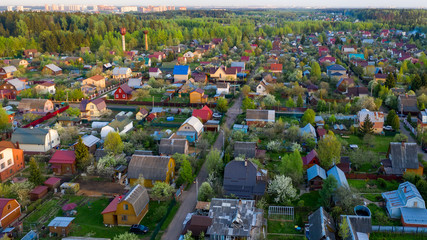 Aerial view. Spring outdoor. Rural scenery.
