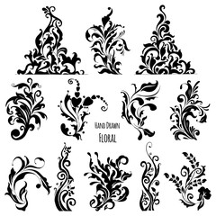 Hand Drawn Decorative Floral Vector. Perfect for invitations, greeting cards, quotes, blogs, Wedding Frames, posters