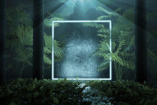 Leuchtender Quadrat Rahmen mit Palmenblätter und Baumstämmen. 3D Rendering