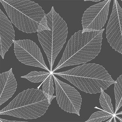 Seamless pattern with chestnut leaves . Vector, EPS 10.