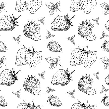 Strawberry pattern. Isolated hand drawn black berries on white background. Seamless sketch wallpaper.